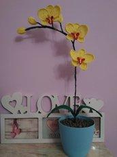Orchidea pianta all ' uncinetto in vaso  idea regalo