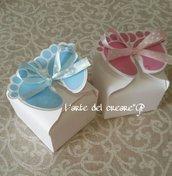 Scatola bomboniera piedini nascita battesimo porta confetti blu rosa (0,70 al pz)