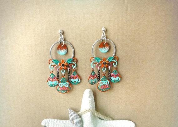 Orecchini pendenti dipinti a mano