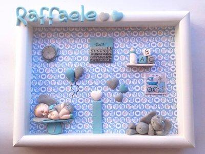 Quadretto nascita personaggi vari - memory frame - linea bimbo