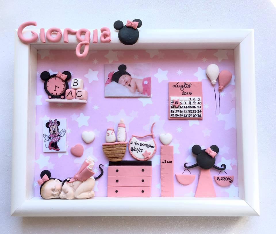Quadretto memory frame - tema minni - colore rosa