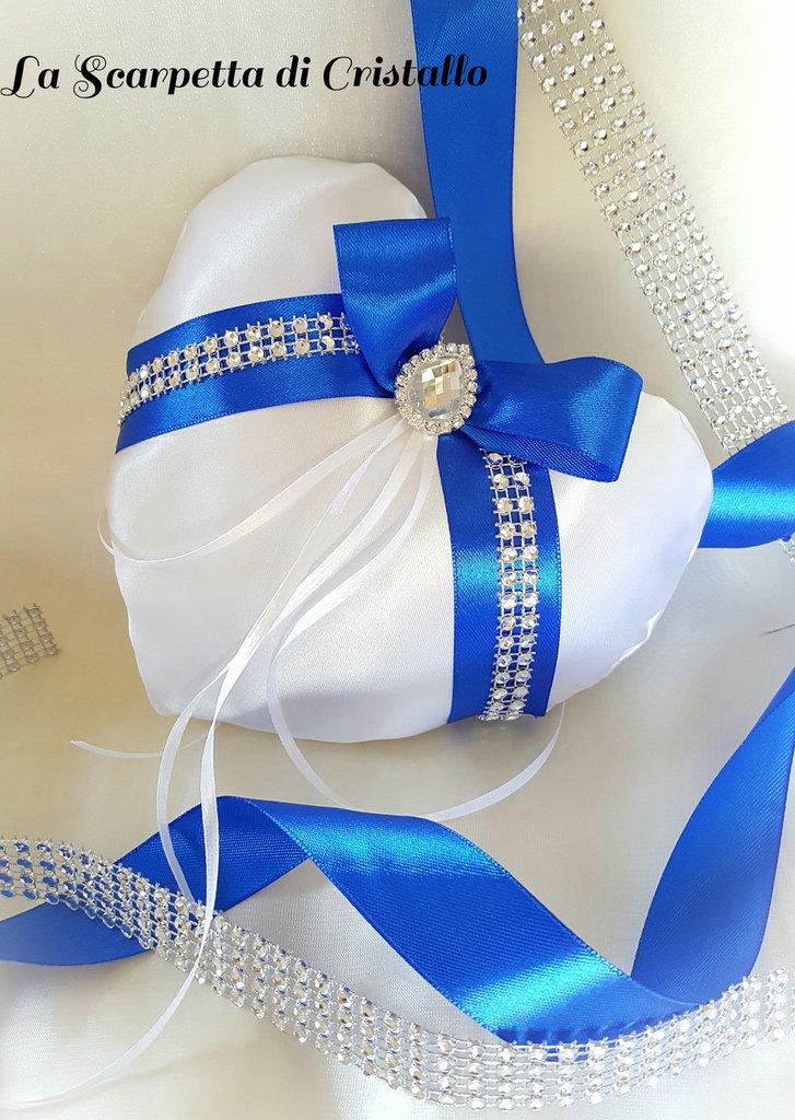Cuscino Portafedi Bianco E Blu.Cuscino Porta Fedi Cuore Bianco Blu
