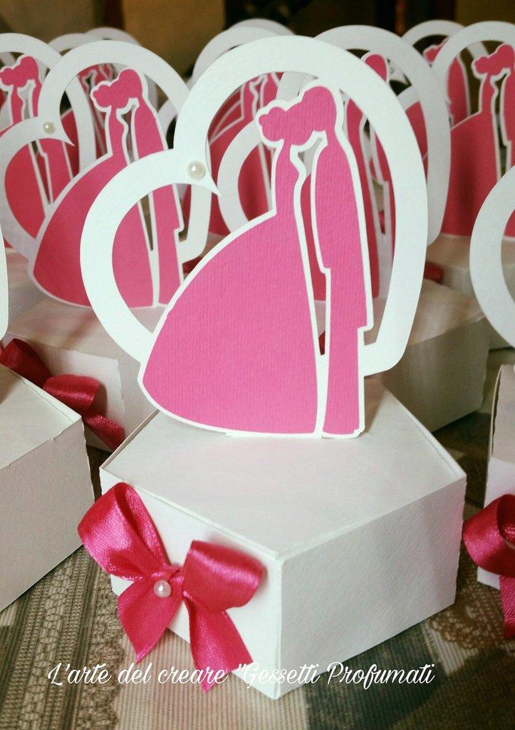 Scatola bomboniera (0,90pz) sacchetto porta-confetti matrimonio nozze SPOSI