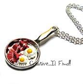 Collana miniature colazione americana - pancetta - bacon e uova - kawaii handmade