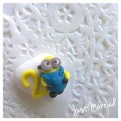 segnaposto primo compleanno, confetti decorati, primo compleanno, Minion