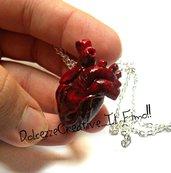 Nuova Versione - Collana cuore Anatomico - Anatomia anatomical heart miniatura emo dark partel goth extreme *SU COMMISSIONE*