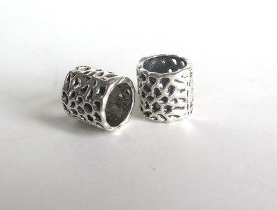 4 Perle a foro largo argento tibetano  PFL186