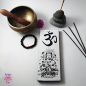 Targhetta in legno Buddha, Om