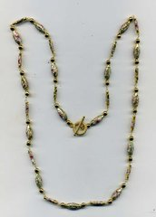 Collana lunga in cloisonne' dorato don decorazioni floreali