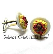 Gemelli da polso - Piatto di spaghetti al sugo con polpette - handmade miniature idea regalo sposo testimone