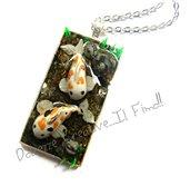 Collana Laghetto di Carpe Koi - Japan - Stagno in miniatura - handmade miniature fimo - giappone