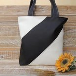 Tote Bag in similpelle bianca e nera