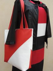 Tote Bag in similpelle bianca e rossa !