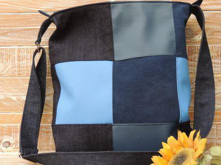 Tracolla Patchwork in jeans,similpelle e alcantara