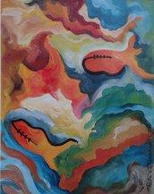 dipinto olio su carta (26) astratto quadro-poster