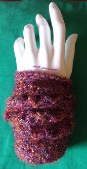Scalda polsi - guanti senza dita viola e lurex filato vegan
