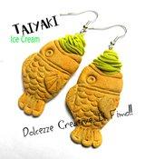 Orecchini Taiyaki al Pistacchio Ice Cream - Japan - Gelato a forma di pesce, miniature, kawaii, idea regalo