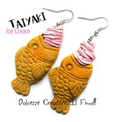 Orecchini Taiyaki alla fragola Ice Cream - Japan - Gelato a forma di pesce, miniature, kawaii, idea regalo