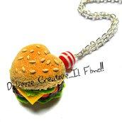 Collana Hamburger a forma di cuore - con insalata, pomodori, formaggio ecc - miniature, kawaii, fimo