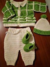 Completino lana neonato/a cardigan pantaloni cuffia scarpine uncinetto 0/3 mesi