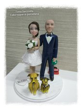 Cake topper sposi personalizzati in porcellana
