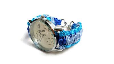 Orologio a bracciale divertente da donna who cares I'm already late / Bracciale blu di corda intrecciato