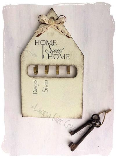 Portachiavi da parete in legno personalizzato in stile shabby p su misshobby - Portachiavi da parete design ...