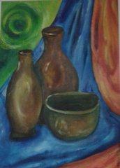 """dipinto a mano (11) olio su carta """" oggetti di terra"""" quadro-poster"""