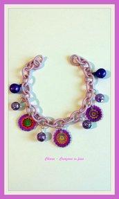Bracciale in tessuto lilla con mandala in polyshrink idea regalo per lei leggerissimo