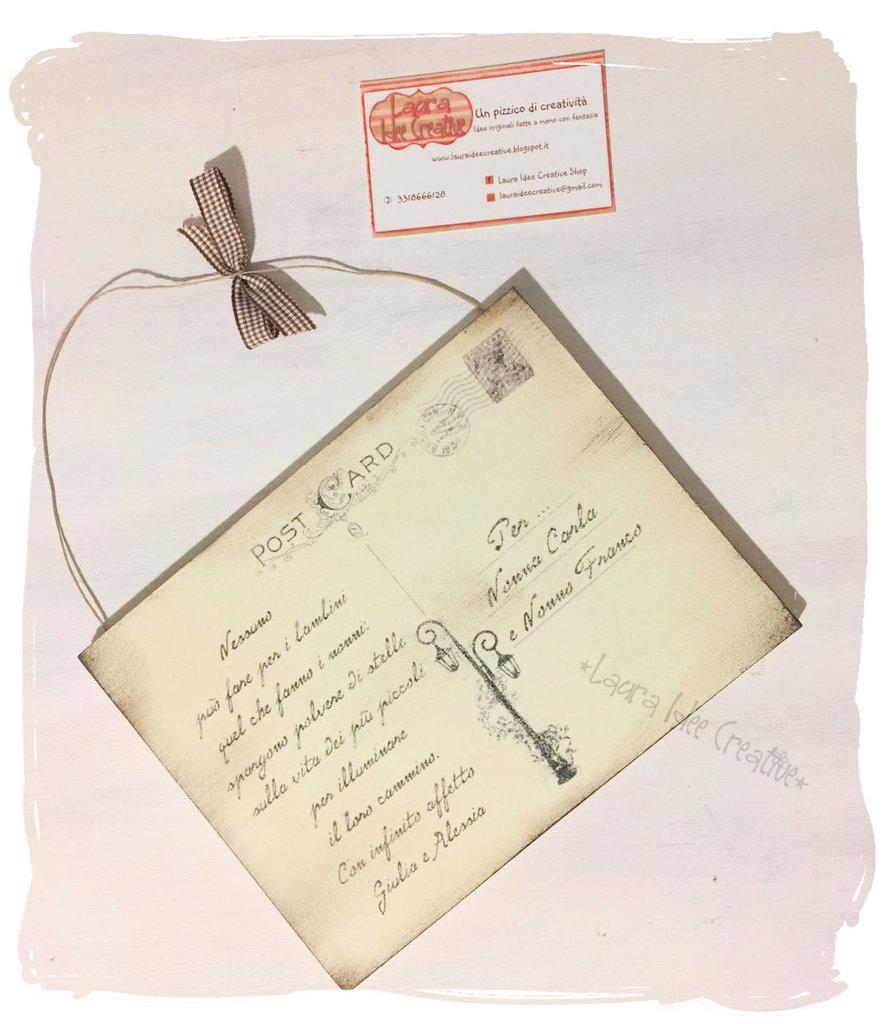 spesso Idea regalo Festa dei Nonni : Targa - Cartolina postale in legno  CT39
