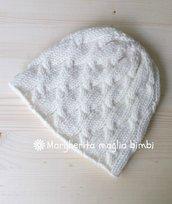 Berretto donna pura lana merino - lavorato a maglia - bianco panna con trecce