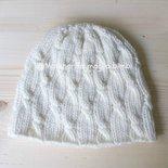Berretto pura lana merino - bambino/bambina/donna - bianco panna con trecce
