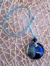 Ciondolo blu mare tondo
