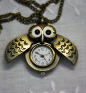 Collana orologio gufo