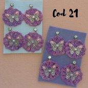 orecchini di cotone (tinti amano), farfalla in filigrana con strasse borchie