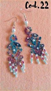 orecchini di cotone(tinti a mano) con perline