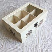 Scatola porta tè, tisane in legno decorata a mano con mandala