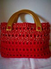 Borsetta lana rosso natale con inserti in lurex dorati