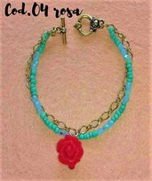 bracciale con catena ad anelli e filo di perline