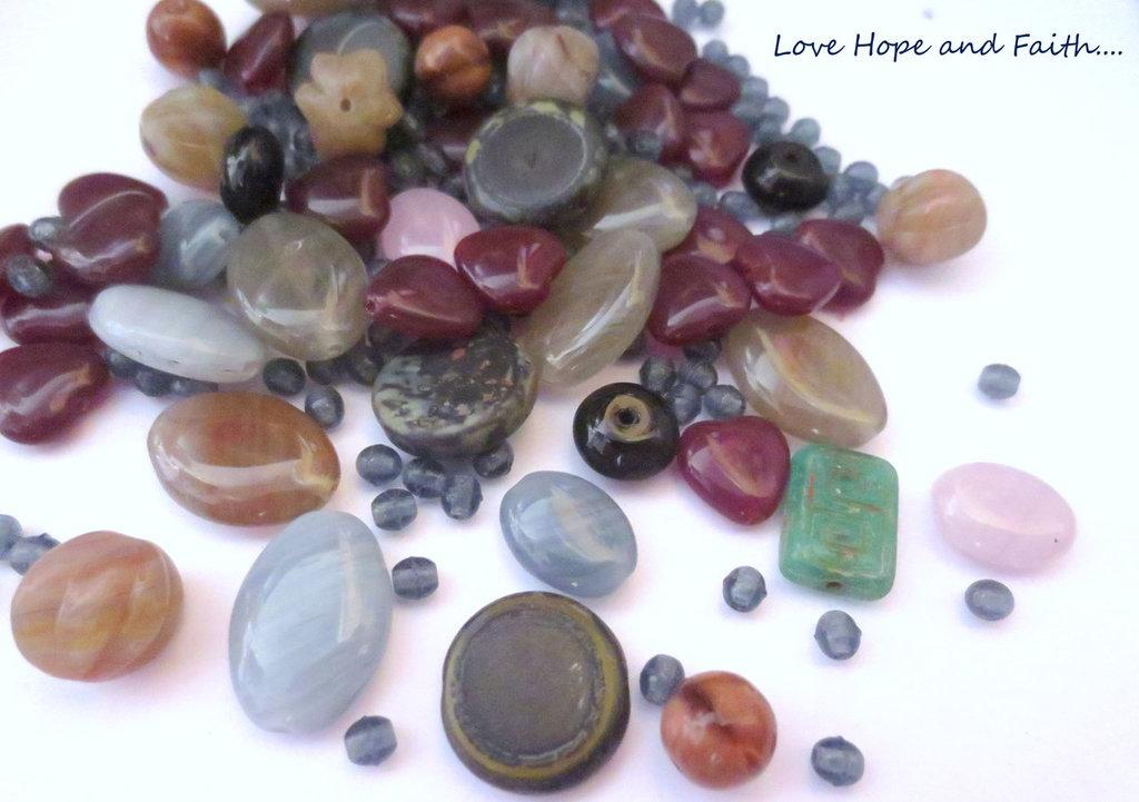 """LOTTO 50 gr perle in vetro di Bohemia """"Stone Clay"""" (cod.PRECIOSA)"""