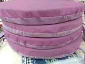 4 coprisedia rotondi sfoderabili viola e lilla in cotone