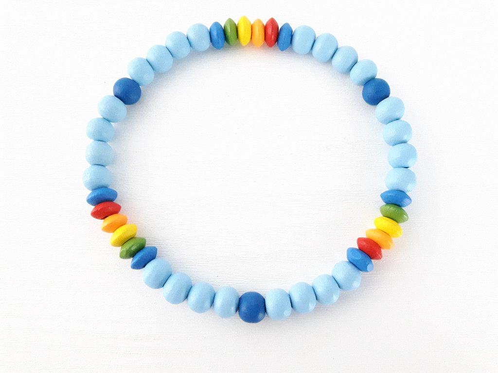 Cavigliere elasticizzato in Legno Unisex - Celeste/arcobaleno