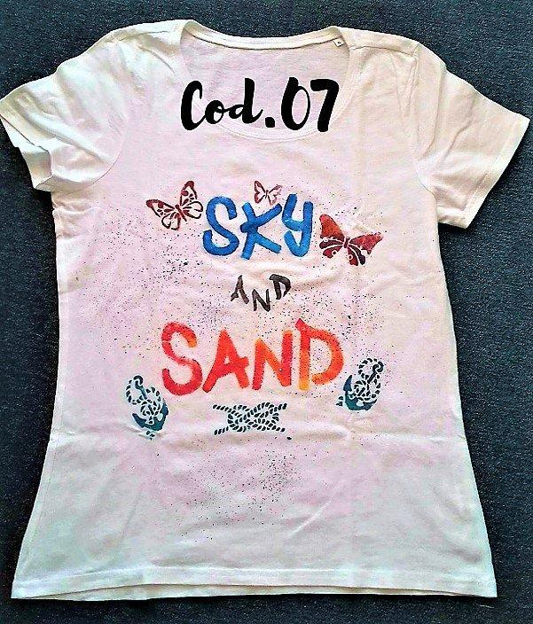 "T-shirt ""SKY AND SAND"" artigianale"