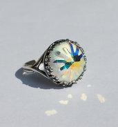 Anello argentato anticato, con Swarovski Bianco Arcobaleno