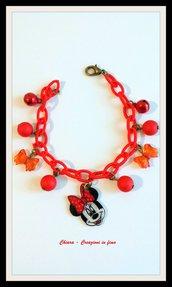 Bracciale minnie, bracciale rosso, bracciale in tessuto, bracciale bambina, bracciale handmade, idea regalo