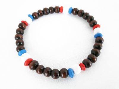 Cavigliere elasticizzato in Legno Unisex - Blu/rosso/bianco