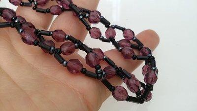 Collarino in perline nero e viola