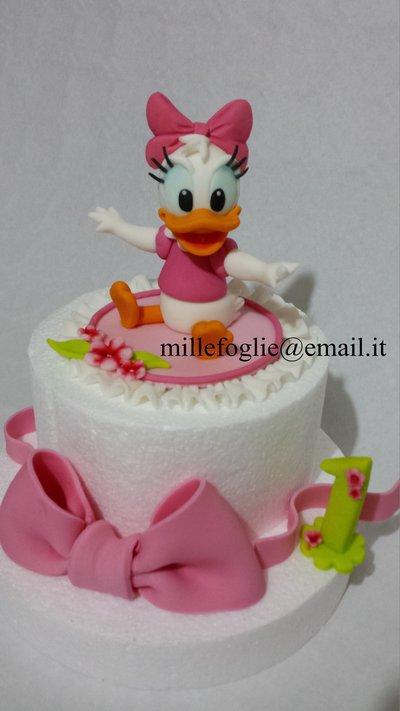 Cake topper Paperina baby+ Fiocco in pasta di zucchero
