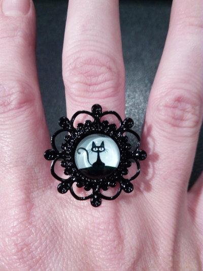 *Anello con cabochon di gatto nero - Black cat ring*