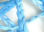1 m. Cordino intrecciato piatto in eco pelle azzurro FCO 7